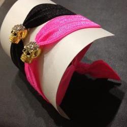 Gold Rhinestone Skull Elastic Hair Ties (and Bracelets)